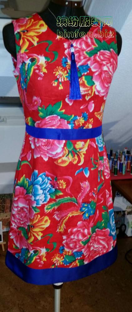 东北大土花布连衣裙该怎么搭配颜色显雅致?