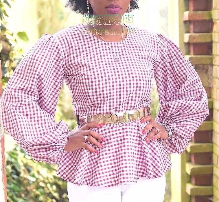 缝制泡泡袖荷叶下摆女衬衫blouse