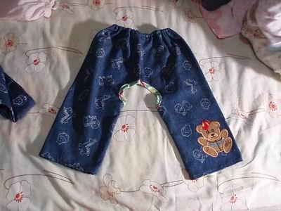 新手妈妈第一次做宝宝牛仔开裆裤和背带裤