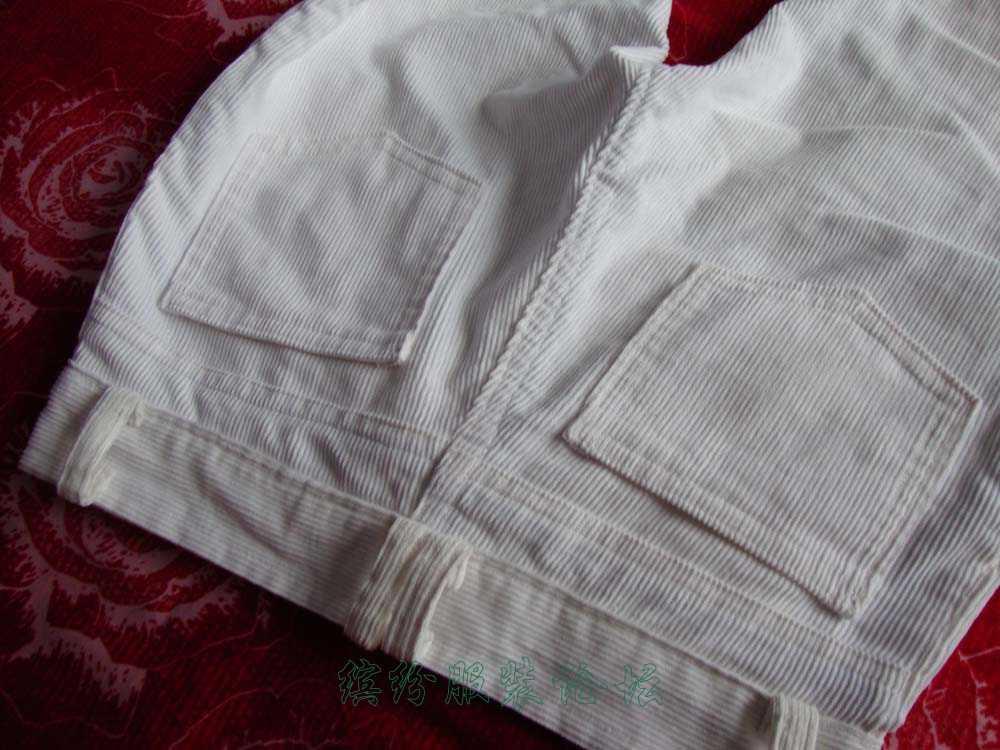 家用缝纫机做给自己的白色灯芯绒裤子,遇到不少问题