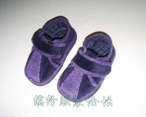 紫色条绒学步鞋