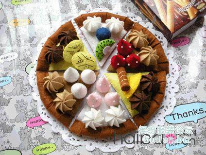 用不织布做漂亮的布艺DIY水果蛋糕