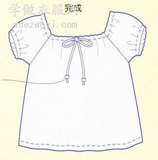 袖褶小泡泡袖格仔娃娃衫,女童装衬衫的裁剪缝纫制作教程