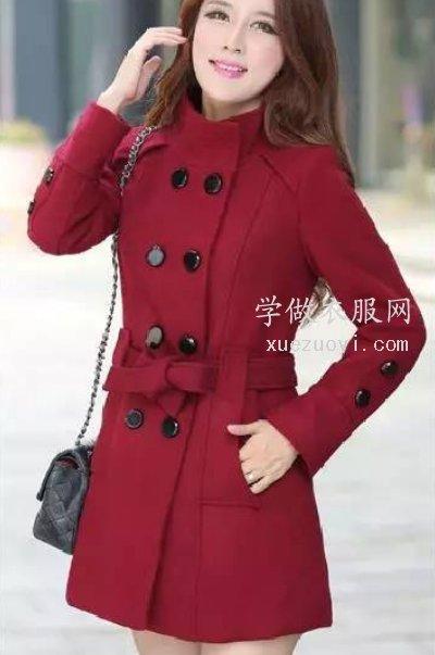 立领双排扣中长款女装毛呢外套大衣(风衣)的打版和裁剪图