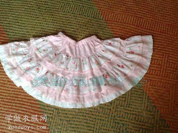 秀秀我新做的童装:6-8岁女孩纯棉360度蓬蓬裙