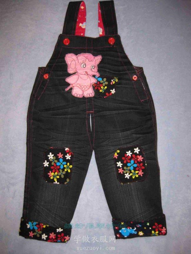 不穿的旧牛仔裤改做宝宝贴布绣背带裤
