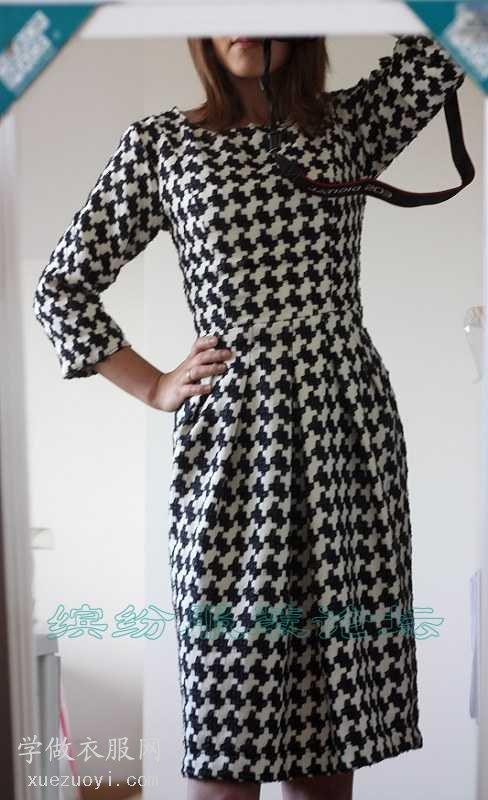 新手用现成纸样做的千鸟格连衣裙
