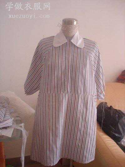 半成品条纹衬衫衣服制作中,帮我看看选哪个领子比较好
