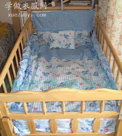 给未出世的婴儿宝宝做床品5件套被罩.床单.定型枕