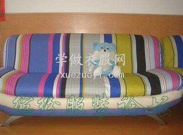 我用纯棉条纹床单布做的沙发套,挺容易做的