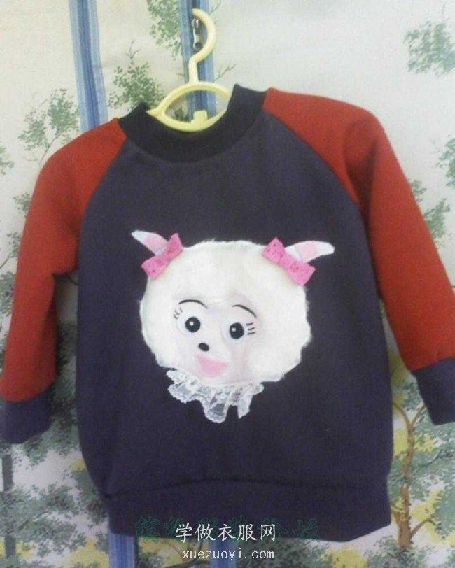 给宝宝做的美羊羊贴布绣套头衫卫衣