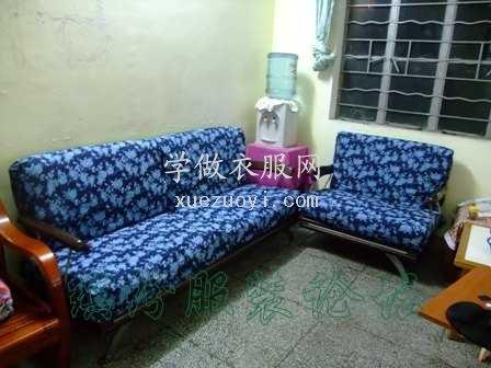 新春布艺礼物--兰色玫瑰沙发套