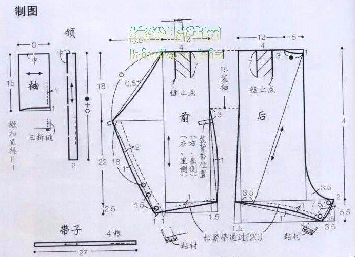幼儿短袖和尚连体式爬服青蛙裤童装裁剪结构图和制作方法